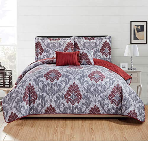 RT Designers Collection Blair 5-Piece Quilt Set - King White/Gray/Burgundy