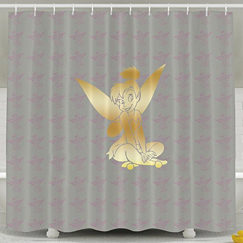 ASJDO Shower Curtains Tinkerbell Fairy Vinyl Decal Sticker Gold Logo
