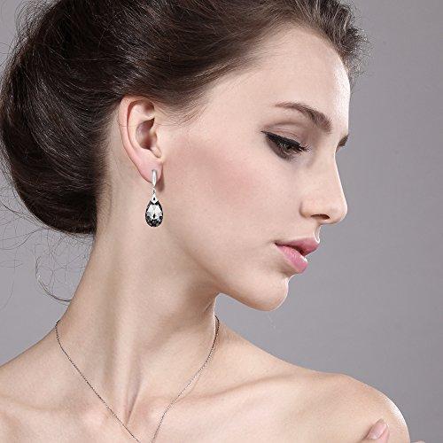 Nirano Collection Black Teardrop Earrings & CZ Created with Swarovski Crystals Photo #5