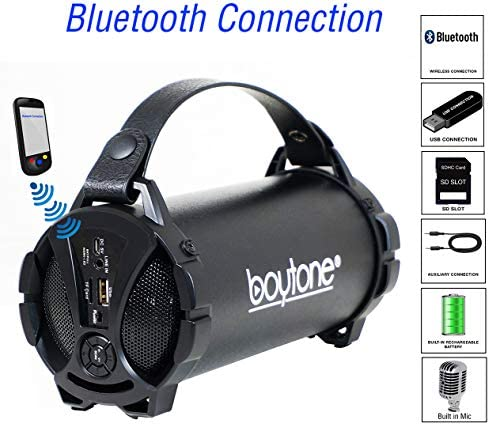 Boytone BT-38BK Portable Bluetooth Indoor Outdoor Speaker 2.1 Hi-Fi Cylinder Loud Speaker with Built-in 2×3 Sub and SD Card, USB, USB Charger, AUX, FM Radio, Built in Rechargeable Battery