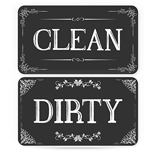 ENVIX Dishwasher Magnet Clean Dirty Sign - Magnet Double Sided Flip - with Metal Magnetic Plate - Kitchen Dish Washer Reversible Indicator
