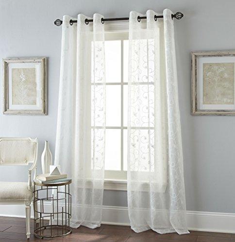 Nanshing Floral Scroll 84'' Window Panel Pair - White