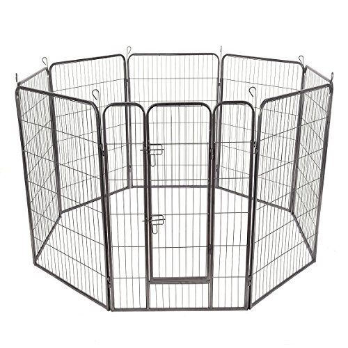 Giantex 8 Panel Pet Puppy Dog Playpen Door Exercise Kennel Fence Metal (48'') by Giantex