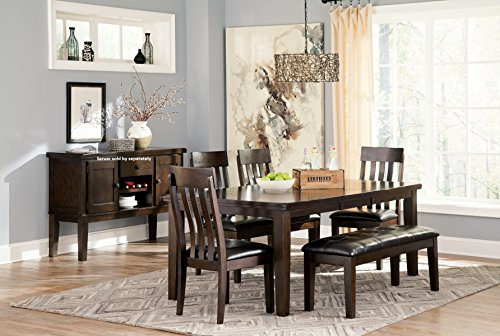 Handigan Casual Dark Brown Color Dining Room Set, Rectangular Table, 4 Chairs And Bench