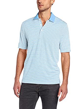 Cutter & Buck Men's Big-Tall CB Drytec Trevor Stipe Polo, Atlas/White, Large/Tall