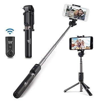 PATISZON Palo Selfie Trípode Bluetooth Selfie Stick con Control Remoto, 360°Rotacion