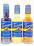 Torani Sugar Free 375ml 3 pack: Chocolate, French Vanilla, and Salted Caramel