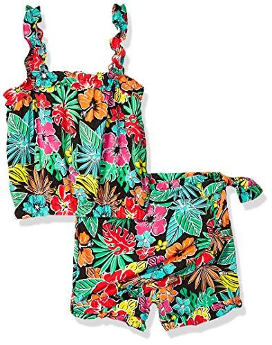 Girls Skort Set - Limited Too Girls' Little 2 Piece Fashion Tank Top and Ruffle Skort Set, Tropical Multi, 6X