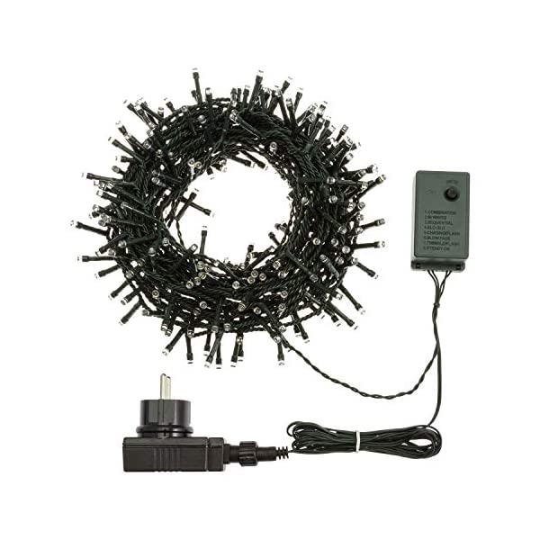 XMASKING Catena 12,5 m, 300 LED Bianco Caldo, con Giochi di Luce, Cavo Verde, luci per L'Albero di Natale, luci Natalizie 4 spesavip