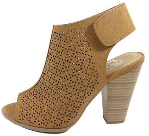 Delicious Womens Cutout Peep Toe Velcro Closure Stacked Chunky Heel Bootie Tan Nbpu bpqbqx