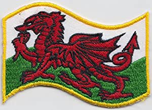 Gales dragón Galesa ondulado bandera bordada (wb142) Badge