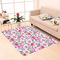 Nalahome Custom carpet er Decor Floral Seamless Texture with Flowers Lavenders Spring Fresh Garden Image Pink and Lilac area rugs for Living Dining Room Bedroom Hallway Office Carpet (5 X 7)