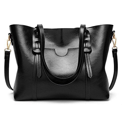 solo del simple manera bolso la la alta cuero seora Negro de Color Negro gama del de de bolso cera HAOYUXIANG Bolso del bolso la aceite de 5Xaqaf6