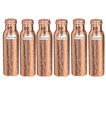 900ml / 30oz – Set of 6 - Prisha India Craft ® Pure Copper Water Bottle Ayurveda Health Benefits - Best Quality Water Bottles Joint Free, Handmade Christmas Gift by Prisha India Craft