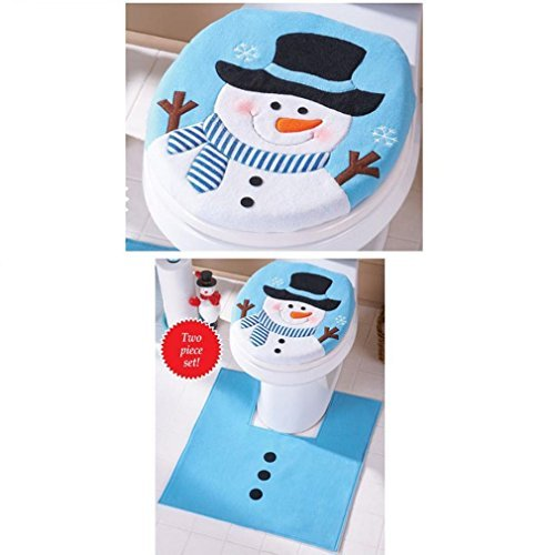 Romote Christmas Decor,Morecome Happy Christmas Snowman Toilet Seat and Tank Cover Set]()