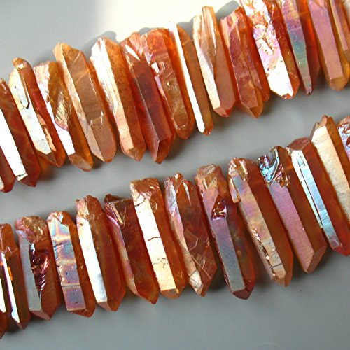 Large Rough Titanium Quartz Point Bead Necklace Orange Metalic Crystal Quartz Spike Points Beads Charm Pendant Top Drilled Jewelry making Supplies 15 inches Strand