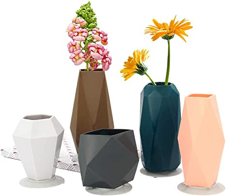 Geometric Silicone Vase Set With Suction Cups Decorative Small Flower Vases For Home Decor Living Room Office Centerpieces Table And Wedding Set Of 5 Kitchen Dining