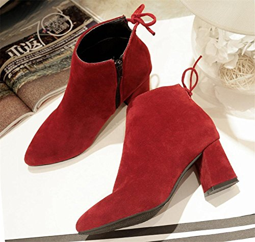NVXIE Women's Short Boots Suede Plus Cashmere Warm Rough Heel Bow tie Black Brown Fall Winter Party Work WINERED-EUR38UK55 y1lOGR