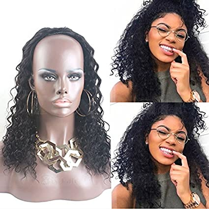 Remeehi mitad Pelucas Cabello humano rizado onda mitad peluca para las mujeres negras pelo humano 3