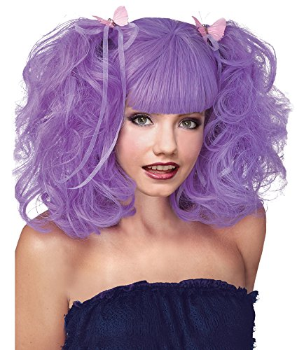 Pixie Wig Costume (UHC Womens Fashion Pixie Curly Wavy Wig Halloween Costume Accessory (Purple))