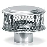 HomeSaver 13870 10'' Round 304 Alloy Stainless Steel Chimney Cap with 3/4'' Mesh f, Stainless Steel