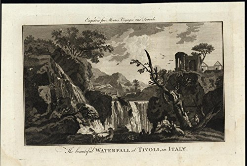 Beautiful Waterfall Tivoli Italy Locals Relaxing c.1780 antique engraved print