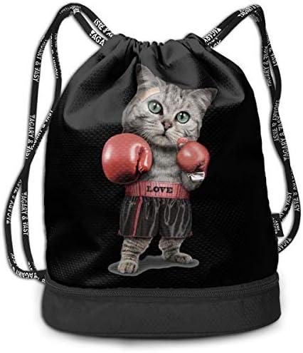 ナップサック ジムサック バックパック 巾着袋 ボクシングの猫 リュックサック カジュアル 旅行 アウトドア 引きひも袋 通勤 水泳 スポーツバック キャンプ 男女兼用 濡れ物用 防水 部活用 プレゼント 靴入れ 軽量 乾湿分離
