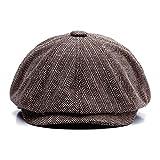 KeepSa Men Visor Woolen Newsboy Beret Caps Outdoor Casual Winter Cabbie Ivy Flat Hat