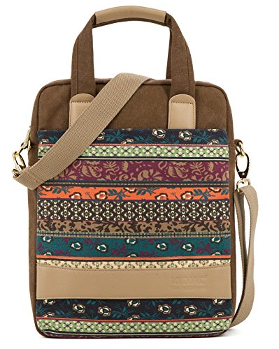 Kinmac New Bohemian Coffee Vertical Laptop Shoulder Messenger Bag Case Briefcase for MacBook Air Pro 13 Inch Surface Laptop Book 13.5 Inch iPad 12.9 and 13.3 inch to 13.5 inch Laptop