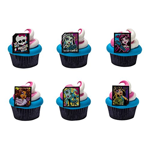 Monster High Birthday Party Supplies (Monster High Ghoulfriends Cupcake Rings - 24)