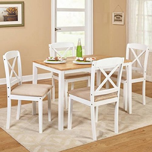 MSN 5-Piece Cross Back Dining Set Multiple Colors, White, Contemporary rectangular table 1 dining table and 4 chairs, Upholstered seats with polyurethane foam, Dimensions L x W x H 45.00x28.00x29.00