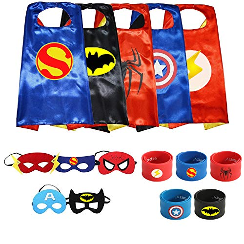 Paoive 5 Different Superheros Cape and Mask Costumes Set for Toddler Dress Up & Role Play (5 SETS -Thor)