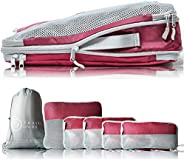 TRAVEL DUDE Compression Packing Cubes Set made of Plastic Bottles | Travel Cubes for Suitcase, Backpack &