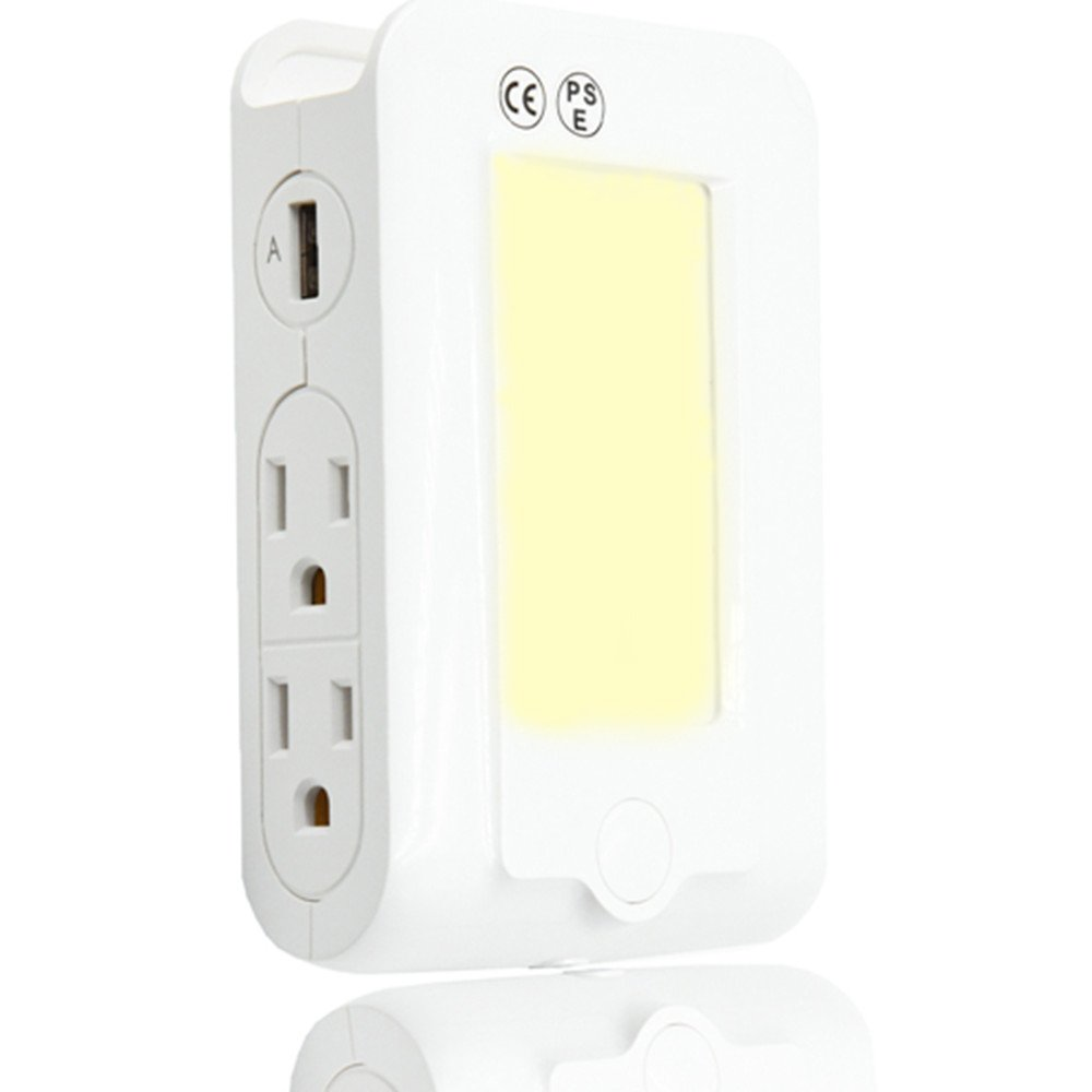 Klarlight Wall Mount Multi USB Plug Outlet Charger Night Light, Warm White, Outlet with 2 USB Ports, 4 AC Adapter Port with Phone Holder Charging Outlet Adapter Sensor Night Light Klarlight LED Co. Ltd