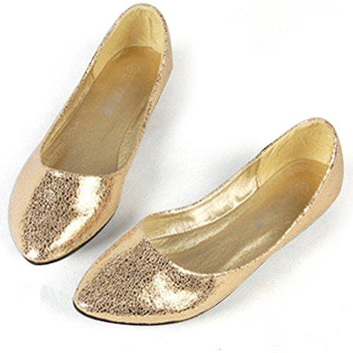 fereshte Women's Comfort Faux Leather Pointed Toe Flat Pump Ballet Shoes No.271 Gold QGhVbL3UU