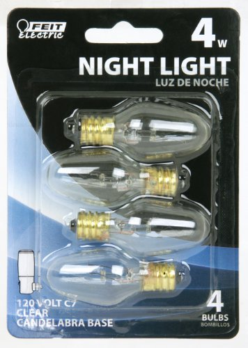 Feit Electric BP4C7/4 4-Watt C7 Night Light Bulb with Candelabra Base, Clear, 4 Pack