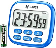 Habor Kitchen Timer, 24-Hours Digital Timer [Multifunctional] with Clock for Cooking, Loud Alarm & Strong Magnet,...