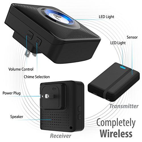 [해외]Fosmon은 WaveLink 51044HOMUS 무선 도어 열림 차임 (작동 범위 - 120M 400 피트 | 52 개 차임 곡 | 4 볼륨 레벨이 | LED 표시 등) - 2 자기 할 일/Fosmon WaveLink 51044HOMUS Wireless Door Open Chime (Operating Range - 120M 400FT | 52 Chime ...