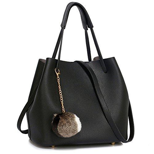 Womens Hobo Bag Ladies Tote Shoulder Faux Leather Designer Handbag Black