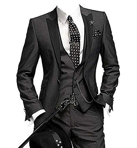 DREFEEL One Button 3 Pieces Black Wedding Suits Notch Lapel Mens Suits Groom Tuxedos
