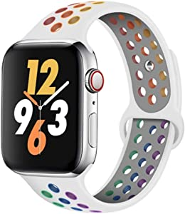 Compatible with Apple Watch Bands 38mm 40mm 42mm 44mm, Rainbow Colorful Sport Breathable Wristband for iWatch Series 1/2/3/4/5/6 Men/Women (White-Colorful, 42/44mm (S/M))