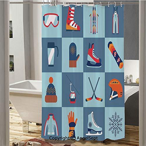 Ice Skating Winter Sports Skiing Boot Cap Glasses Glove Helmet Skates Snowboard Print Plastic Curtain(37