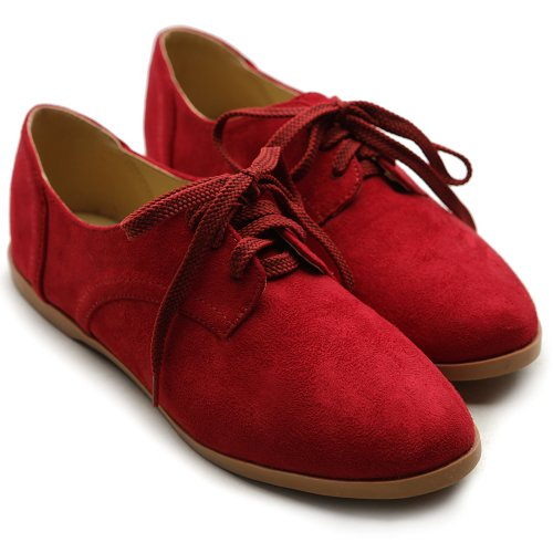 Ollio Women Classic Flat Loafer Lace Up Faux Suede Oxford Shoes