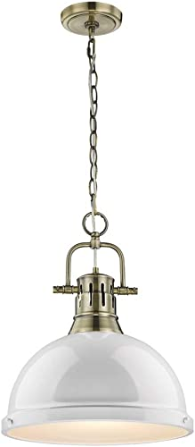 Golden Lighting 3602-L AB-WH Pendant with White Shades, Aged Brass Finish