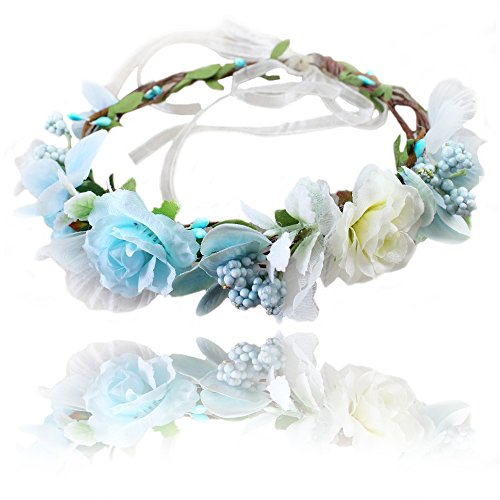 Flower Crown Floral Headband Headpiece Wreath Girls Womens Artificial White Blue Silk Roses Wedding Bridal Boho Kids (Bridal Headpiece Flower Girl Wreath)