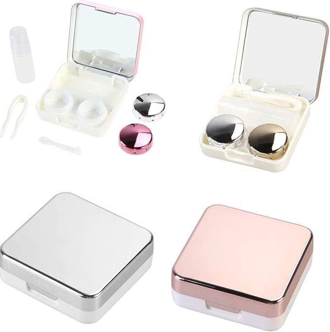 SUPVOX 2pcs Estuche para lentes de contacto caja de lentes de contacto de viaje con pinzas y ventosas para uso diario (Rosa roja): Amazon.es: Salud y cuidado personal