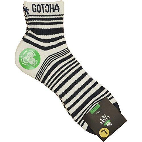 (ガッチャ ゴルフ) GOTCHA GOLF ソックス ミドル丈 ランダムボーダー 173GG8802 ホワイト Mサイズ