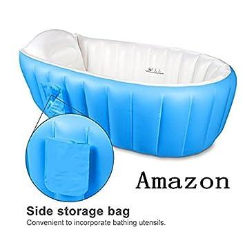 Amazon.com: Antideslizante portátil tina bebé tina hinchable ...