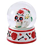 Pacific Giftware Day of The Dead Sugar Skull Head Water Globe 80mm Home Decor Gift Collectible