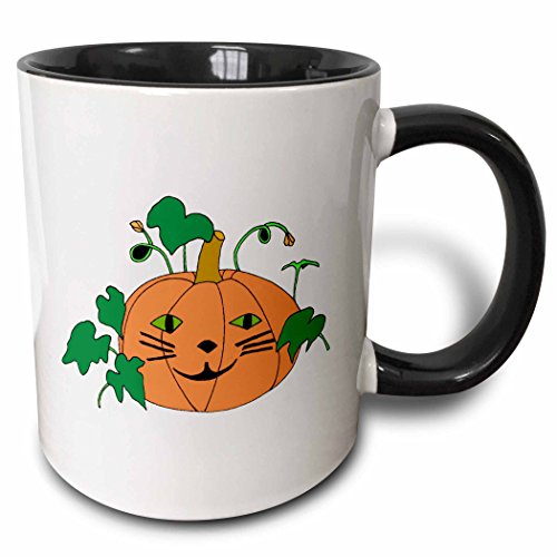 3dRose CherylsArt Holidays Halloween - Digital painting of a cute pumpkin with a cat face for Halloween - 15oz Two-Tone Black Mug (mug_223207_9)]()